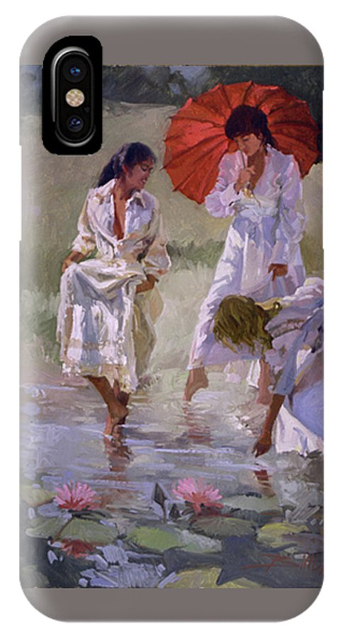 Figurative IPhone X Case featuring the painting Ladies And Lilies by Betty Jean Billups