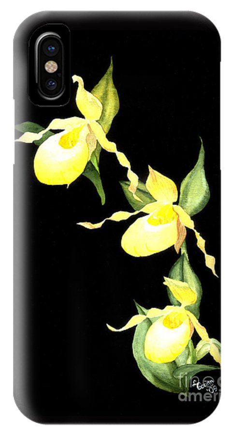 Yellow Lady S Slipper IPhone X Case featuring the painting Ladies Trio by Lynn Quinn