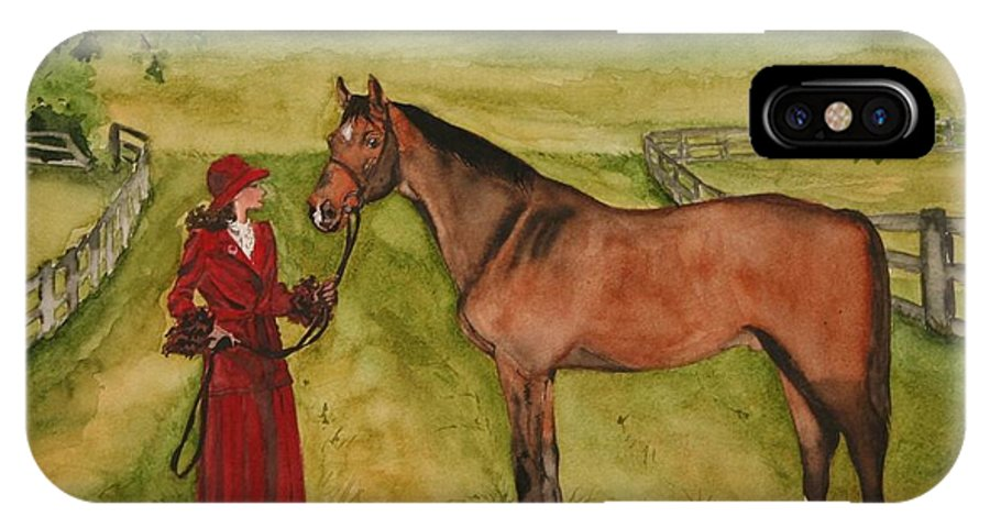 Horse IPhone X Case featuring the painting Lady And Horse by Jean Blackmer