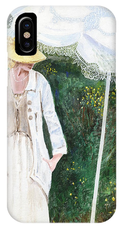 Lady IPhone X Case featuring the painting Lady And The Umbrella by Arline Wagner