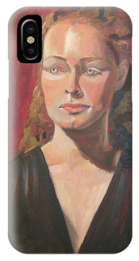 Portrait IPhone X Case featuring the painting Lady Ann by Lilibeth Andre