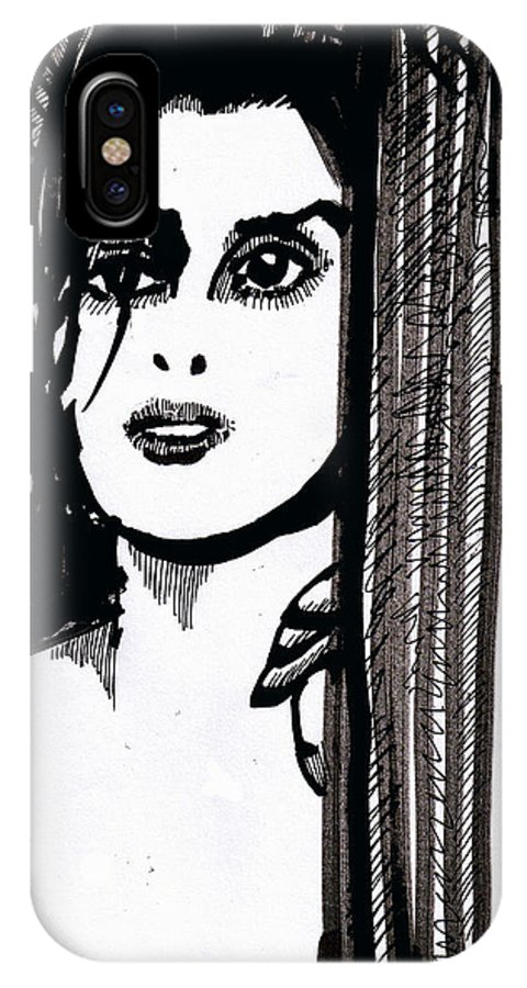Sad Lady IPhone Case featuring the drawing Lady At The Door by Seth Weaver