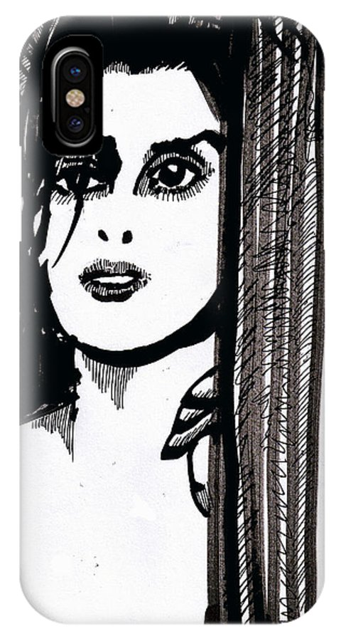 Sad Lady IPhone X Case featuring the drawing Lady At The Door by Seth Weaver