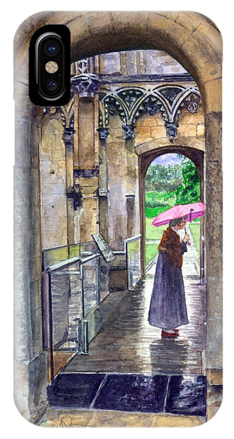 Glastonbury IPhone X Case featuring the painting Lady Chapel by John D Benson