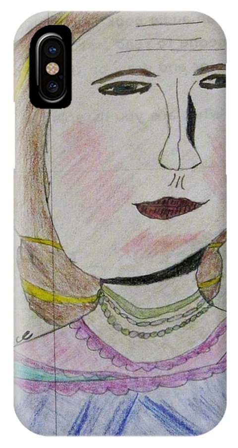 Lady IPhone X Case featuring the drawing Lady by Esther Race