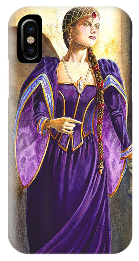 Camelot IPhone X Case featuring the painting Lady Ettard by Melissa A Benson