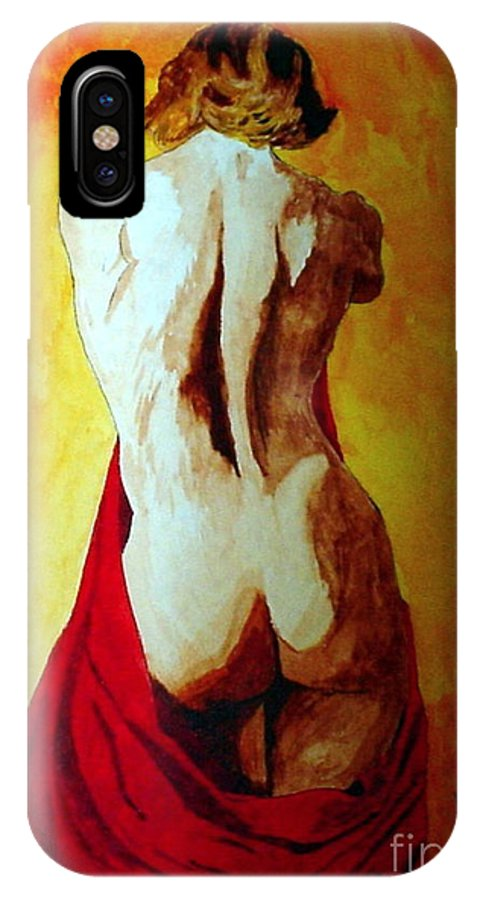 Nude Red Lady In Red IPhone X Case featuring the painting Lady In Red by Herschel Fall