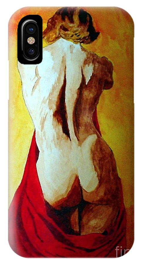 Nude Red Lady In Red IPhone Case featuring the painting Lady In Red by Herschel Fall