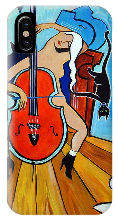 Musicians IPhone Case featuring the painting Lady In Red by Valerie Vescovi