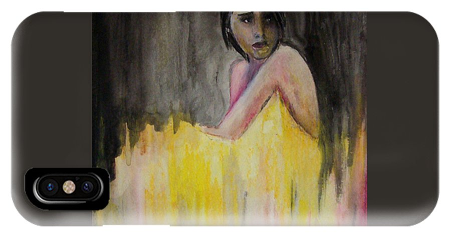 Lady In Yellow IPhone X Case featuring the painting Lady In Yellow by Devon Ingram