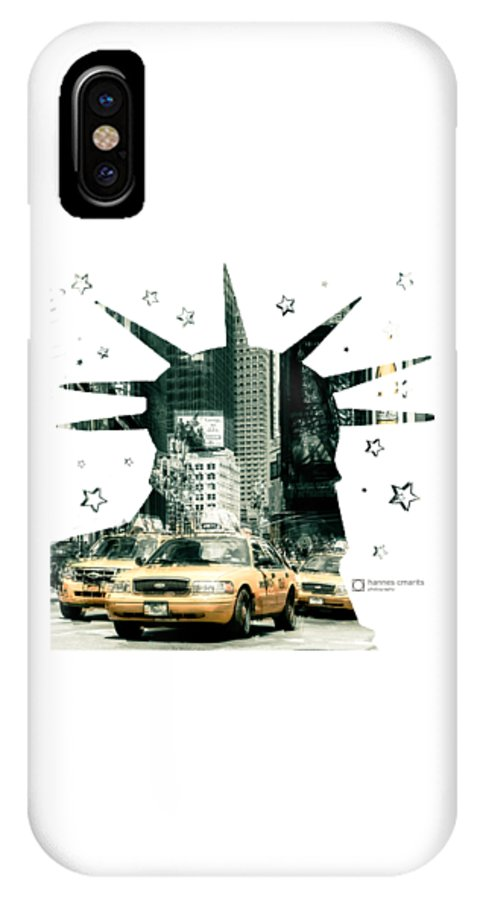 Graphical IPhone X Case featuring the photograph Lady Liberty And The Yellow Cabs by Hannes Cmarits
