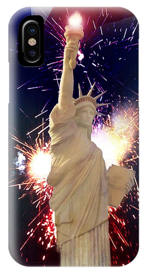 Independence Day IPhone X Case featuring the digital art Lady Liberty by Gravityx9 Designs
