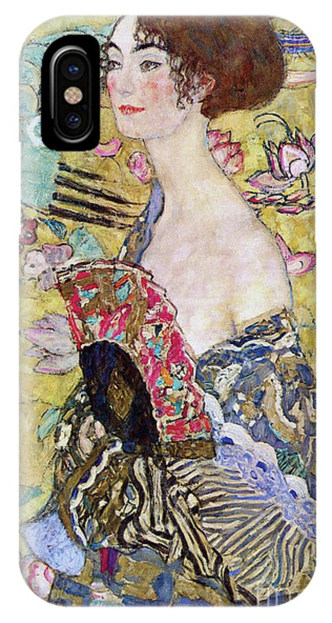Klimt IPhone X Case featuring the painting Lady With A Fan by Gustav Klimt