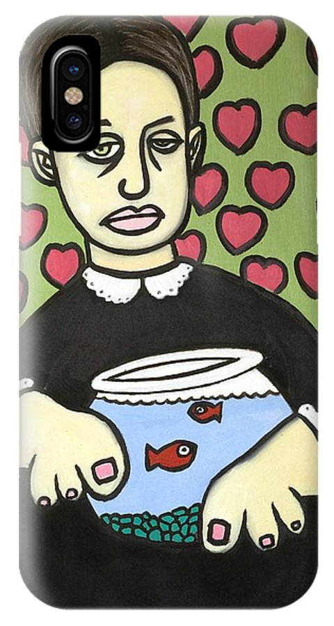 IPhone X / XS Case featuring the painting Lady With Fish Bowl by Thomas Valentine