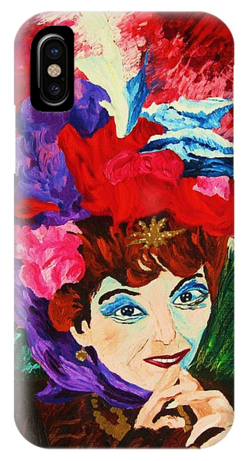 Red Hats IPhone X Case featuring the painting Lady With The Red Hat by Carole Spandau