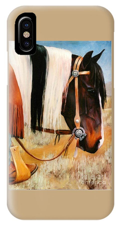 Paint IPhone X Case featuring the painting Ladys Jewels Horse Painting Portrait by Kim Corpany