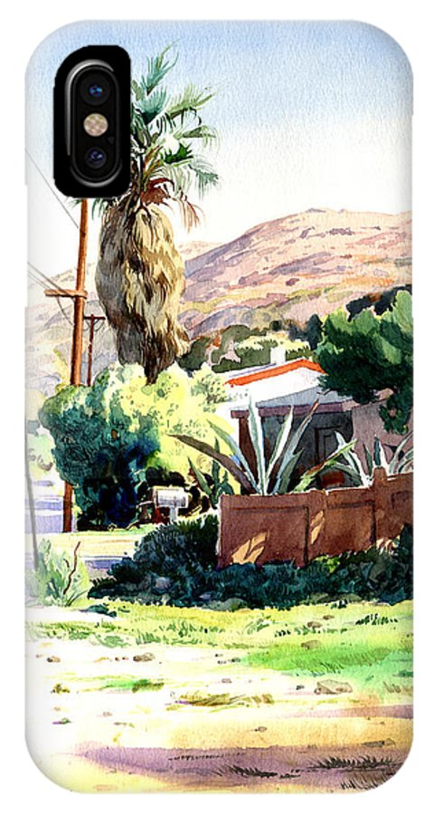 Watercolor IPhone X Case featuring the painting Laguna Canyon Palm by John Norman Stewart