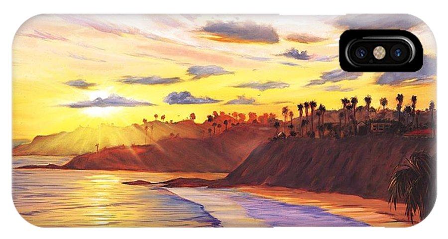 Laguna Beach IPhone Case featuring the painting Laguna Village Sunset by Steve Simon