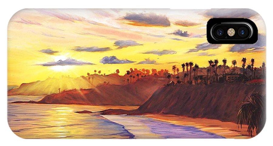Laguna Beach IPhone X / XS Case featuring the painting Laguna Village Sunset by Steve Simon