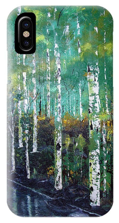 Waterfalls IPhone X Case featuring the painting Lake Birch by Gary Smith