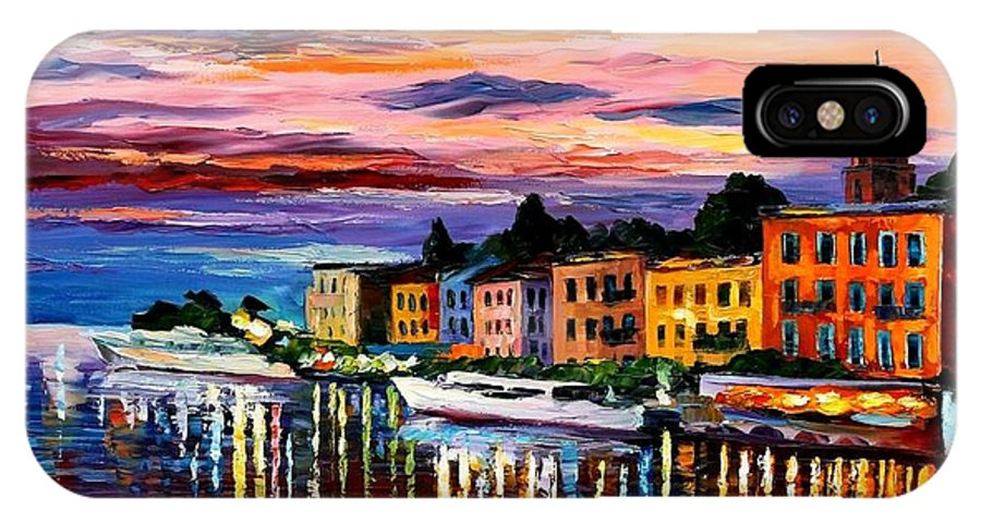 Cityscape IPhone X Case featuring the painting Lake Como - Bellagio by Leonid Afremov
