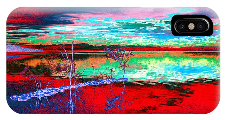 Sea IPhone X Case featuring the digital art Lake In Red by Helmut Rottler
