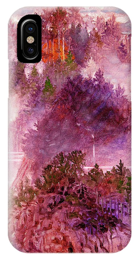 Landscape IPhone X Case featuring the painting Lake Memories by John Lautermilch