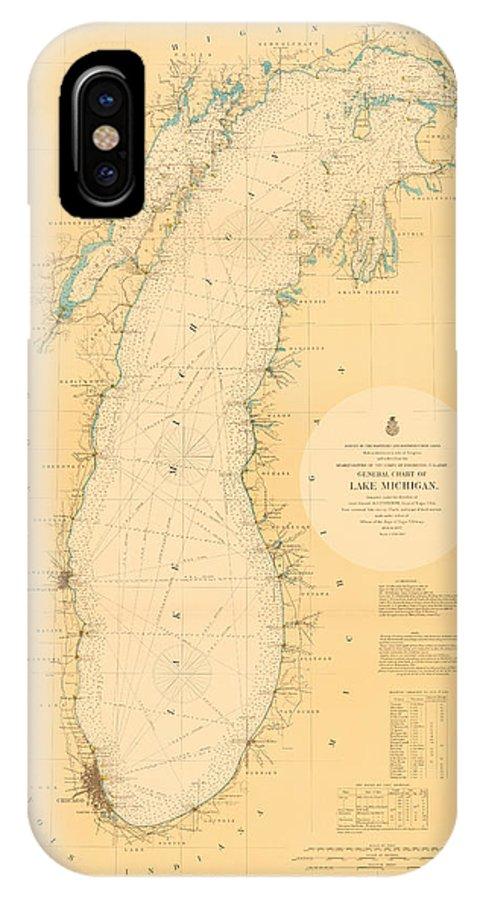 Lake Michigan Nautical Map IPhone X Case featuring the photograph Lake Michigan Nautical Map by Fran Riley