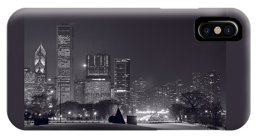 Building IPhone X Case featuring the photograph Lake Shore Drive Chicago B And W by Steve Gadomski