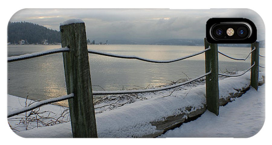 Fence IPhone X Case featuring the photograph Lake Snow by Idaho Scenic Images Linda Lantzy