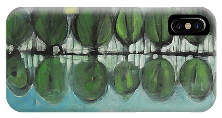 Trees IPhone X Case featuring the painting Lakeside Trees by Tim Nyberg
