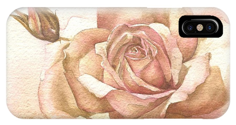 Rose IPhone X / XS Case featuring the painting Lalique Rose by Sandra Phryce-Jones