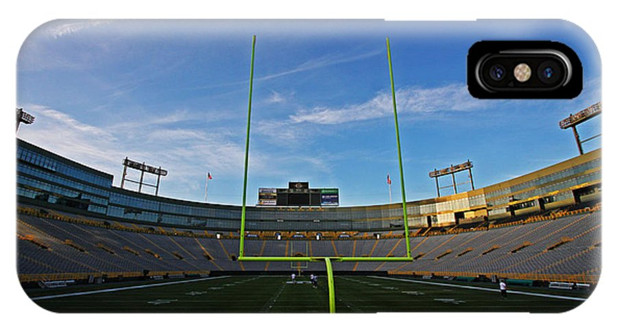 Lambeau IPhone X Case featuring the photograph Lambeau Endzone by Ty Helbach