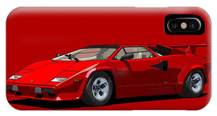 Lamborghini Countach 5000qv Rosso Siviglia Us Spec Iphone X Case For