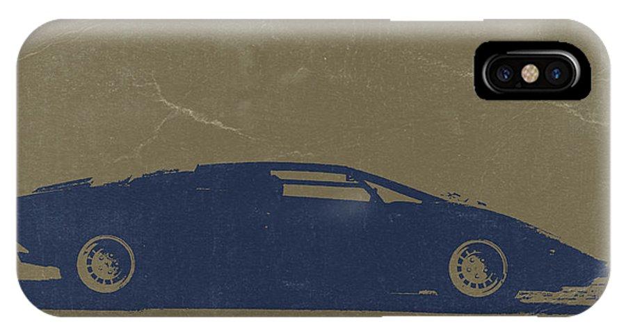Lamborghini Countach IPhone X Case featuring the photograph Lamborghini Countach by Naxart Studio