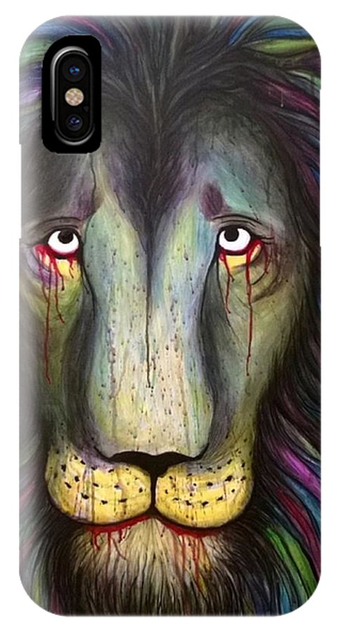 Leo IPhone X Case featuring the mixed media Lamenting Leo by Justin Boysko