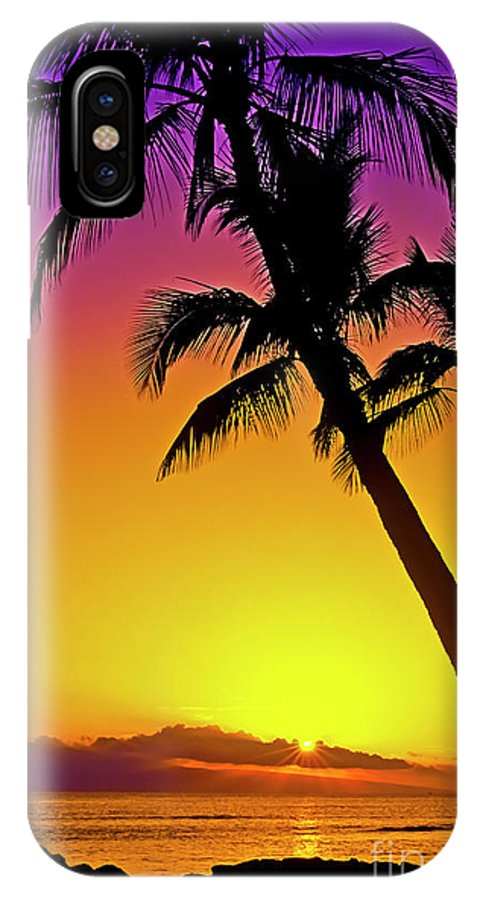 Sunset IPhone X Case featuring the photograph Lanai Sunset II Maui Hawaii by Jim Cazel