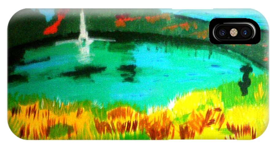 Landscape IPhone X Case featuring the painting Land And Sea by Lorna Lorraine