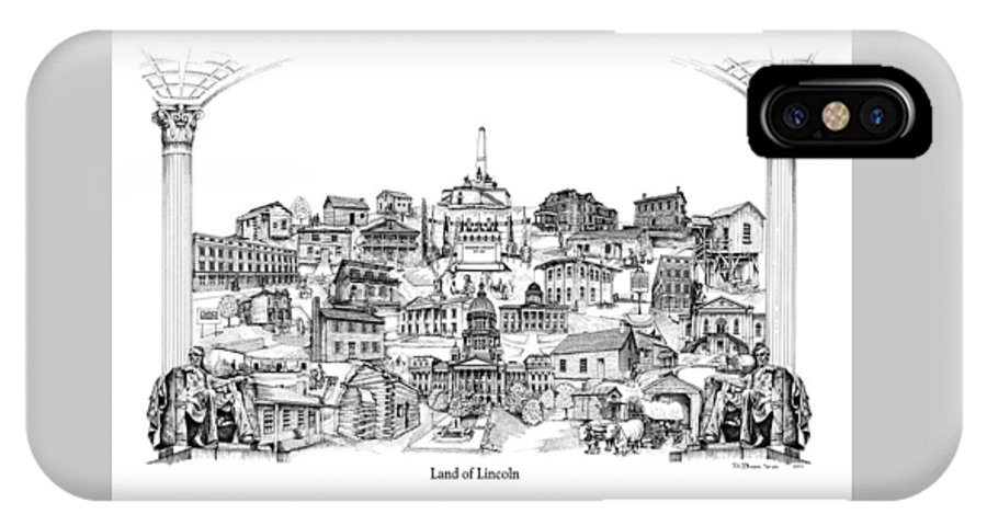 City Drawing IPhone X Case featuring the drawing Land Of Lincoln by Dennis Bivens