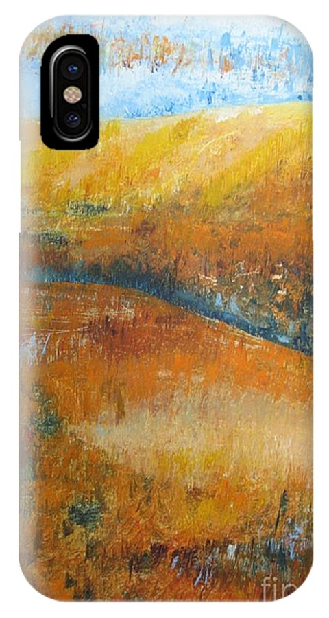Landscape IPhone X Case featuring the painting Land Of Richness by Stella Velka