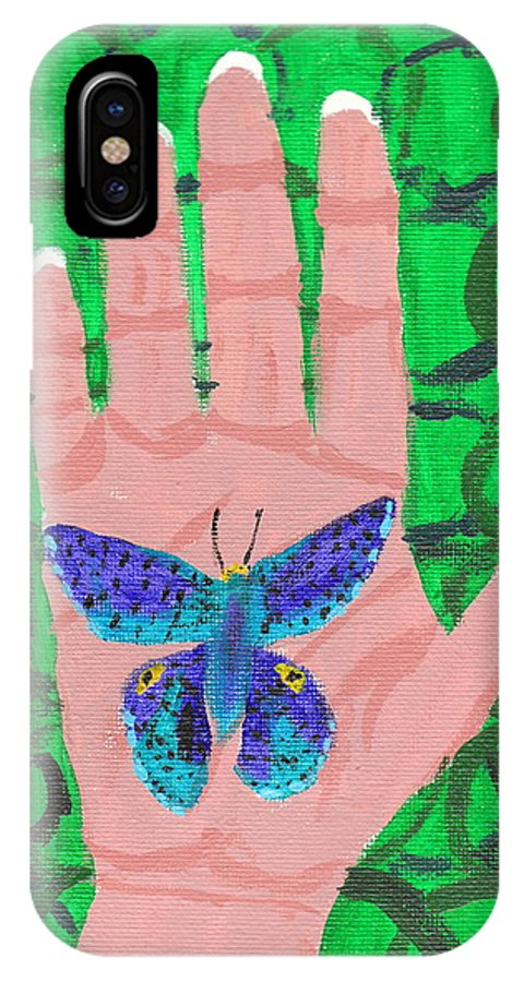 Butterfly IPhone X Case featuring the painting Landed On My Hand by April Patterson