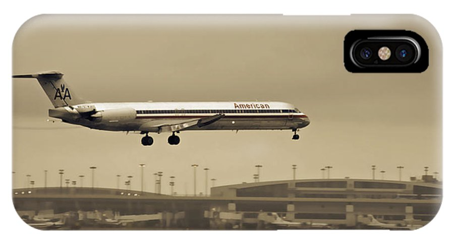 American Airlines-the Mcdonnell Douglas Md-81/82/83/88 IPhone X / XS Case featuring the photograph Landing At Dfw Airport by Douglas Barnard