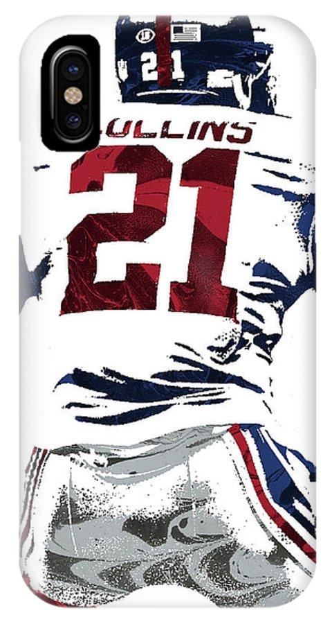 Landon Collins IPhone X Case featuring the mixed media Landon Collins New York Giants Pixel Art 1 by Joe Hamilton