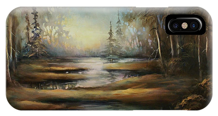 Landscape Quiet Scenery Water River Woods Trees Nature Scenic IPhone X Case featuring the painting Landscape 10 by Michael Lang