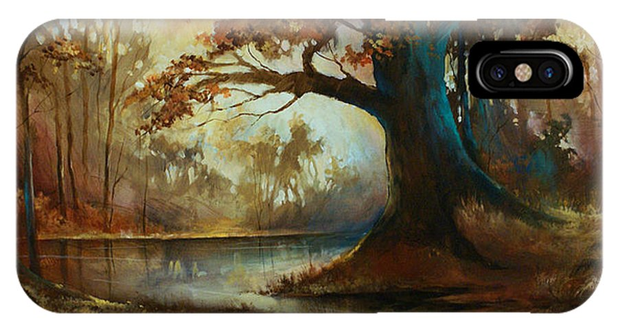 Landscape IPhone X Case featuring the painting Landscape 11 by Michael Lang