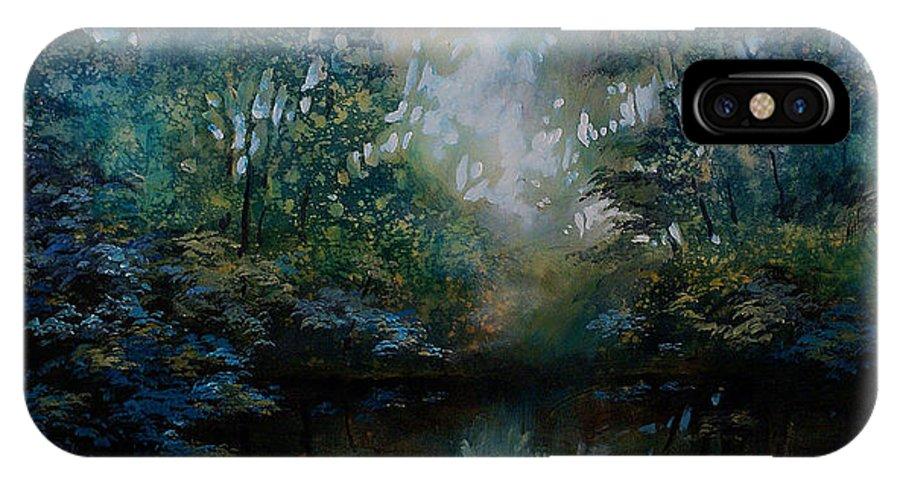 Original Landscape Painting IPhone X Case featuring the painting Landscape 2 by Michael Lang
