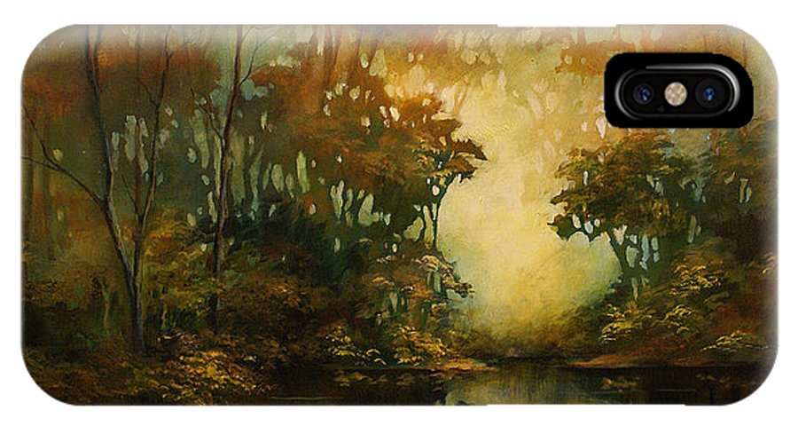 Abstract Art IPhone X Case featuring the painting Landscape 3 by Michael Lang
