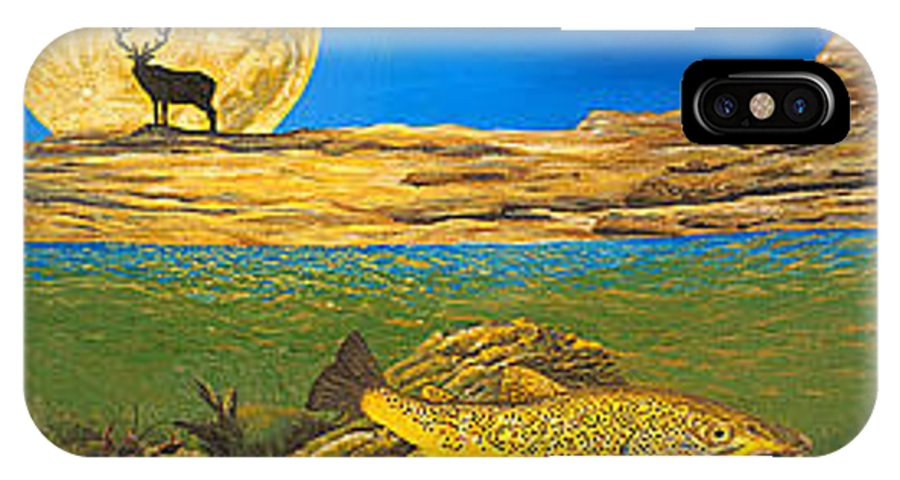 Artwork IPhone X Case featuring the painting Landscape Art Fish Art Brown Trout Timing Bull Elk Full Moon Nature Contemporary Modern Decor by Baslee Troutman