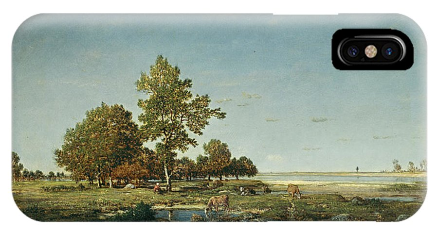 Animal IPhone X Case featuring the painting Landscape With A Clump Of Trees by Theodore Rousseau