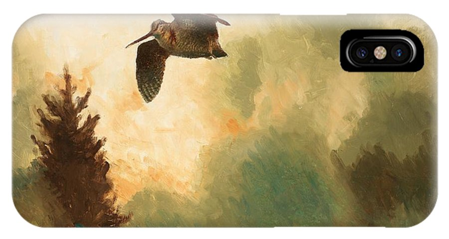 Bruno Liljefors (swedish IPhone X / XS Case featuring the painting Landscape With Snipe by Celestial Images